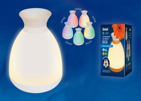 ULD-R200 LED/100Lm/3000K/RGB WHITE Настольный светильник — ваза, 3W. Встроенный аккумулятор 1800mAh. Сенсорный выключатель. Белый. ТМ Uniel