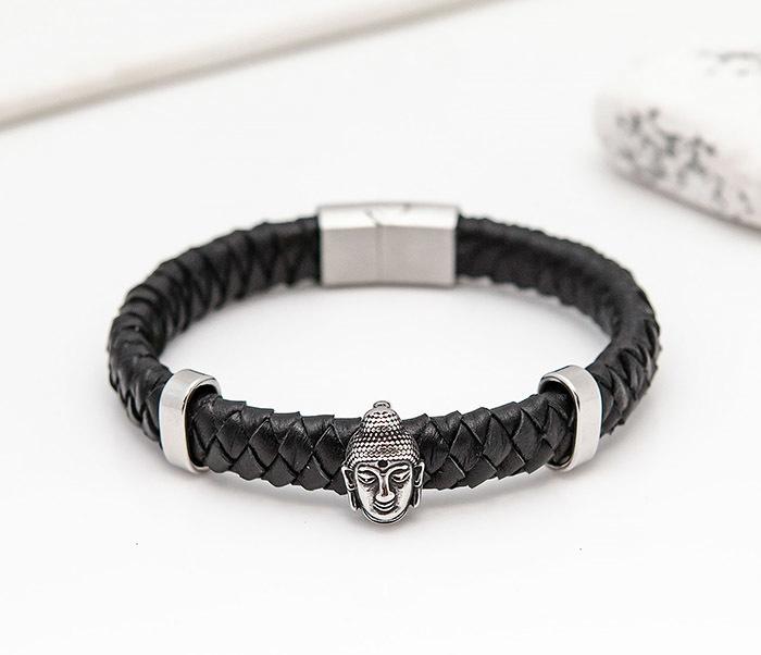 BL812-1 Мужской браслет с Буддой из кожаного шнура