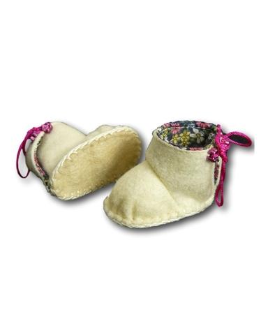 Сапожки из фетра на подкладке - Белый / цикламеновый. Одежда для кукол, пупсов и мягких игрушек.