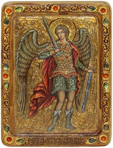 Инкрустированная живописная икона Архангел Михаил 29х21см на натуральном кипарисе в подарочной коробке