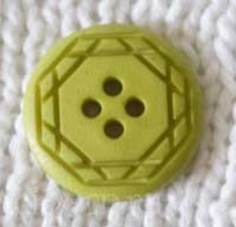 Пуговица с орнаментом круглая, зелёная