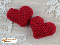 Сердечко вязаное красное (ручная работа)
