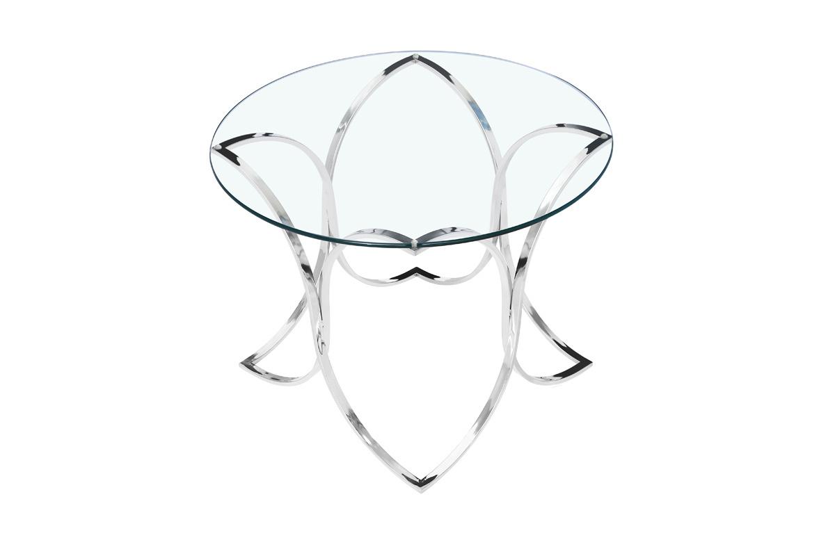 Стол журнальный GY-ET7747 прозрачное стекло/хром d60*55см