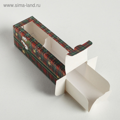 Коробочка для макарун «Новогодний хлопок», 18 × 5.5 × 5.5 см