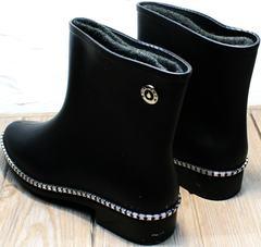 Резиновые сапоги теплые женские черные Hello Rain Story 1019 Black
