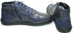 Низкие ботинки мужские на молнии осень зима Luciano Bellini BC2802 L Blue.