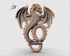 Силиконовый молд  № 378  Дракон Большой правый