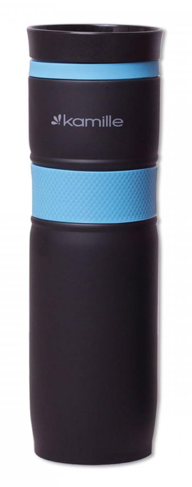Термокружка Kamille 900 мл  из нержавеющей стали с TPR-вставкой голубая
