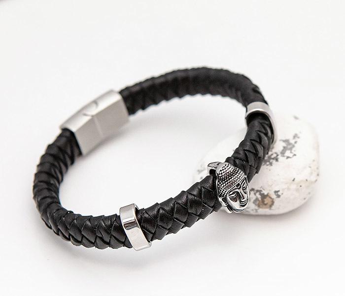 BL812-1 Мужской браслет с Буддой из кожаного шнура фото 05