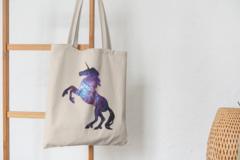 Сумка-шоппер с принтом Единорог (Unicorn) бежевая 003