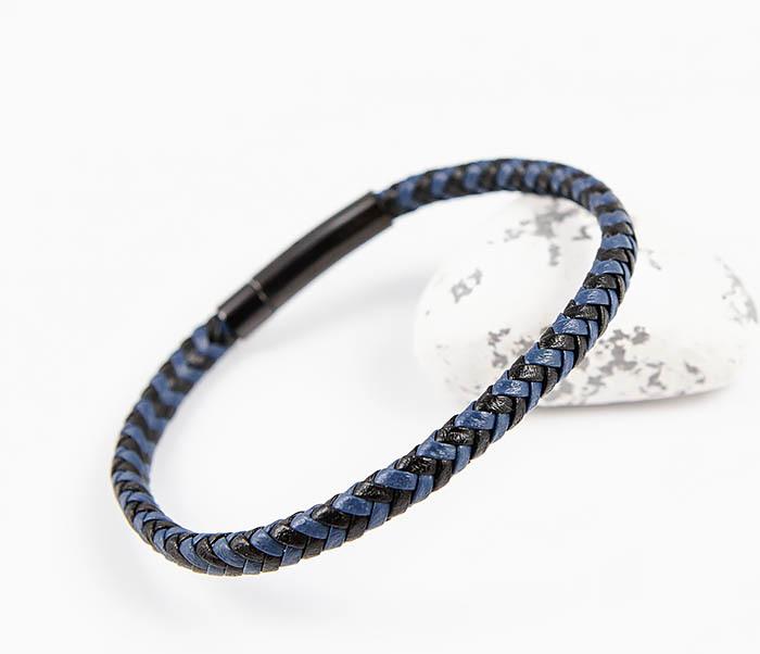 BM529-3 Плетеный мужской браслет из черной и синей кожи