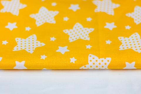 Тканина бавовна, Let's make відріз 30х40 см. Малюнок - маленькі та великі білі зірочки на жовтому