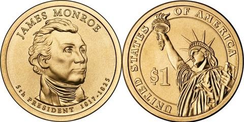 1 доллар 5-й президент США Джеймс Монро 2008 год