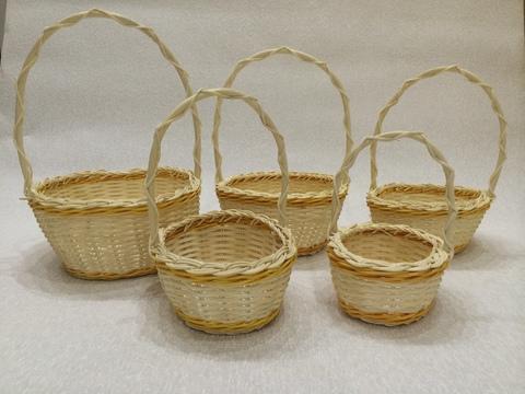 Набор плетёных корзин 5 шт. (ротанг), 26х21хH28 см, цвет: натуральный/желтый