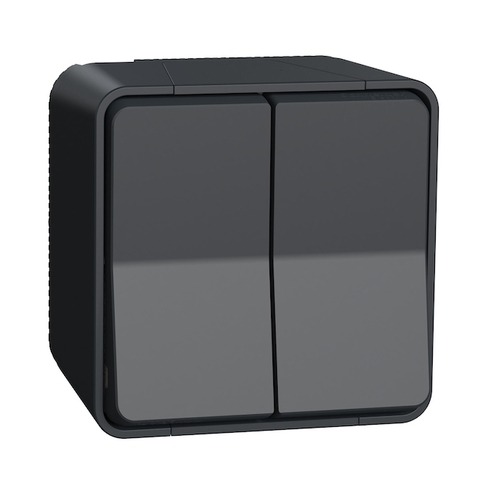 Выключатель/переключатель двухклавишный (схема 6+6)в сборе. Цвет Антрацит. Schneider Electric(Шнайдер электрик). Mureva styl(Мурева стайл). MUR35022
