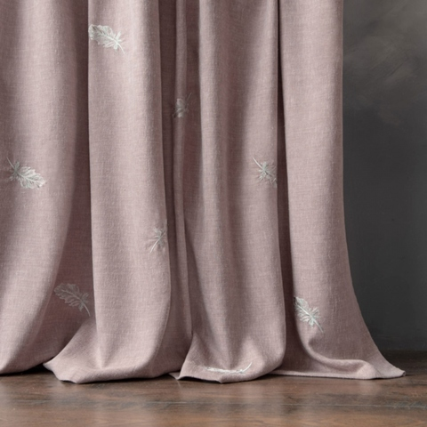 Комплект штор с вышивкой Плаза розовый
