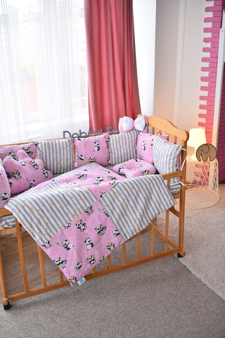 Комплект постельного белья Облачко Розовый с пандой