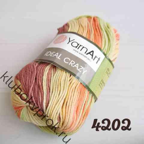 YARNART IDEAL CRAZY 4202, Зеленый/оранжевый/бежевый