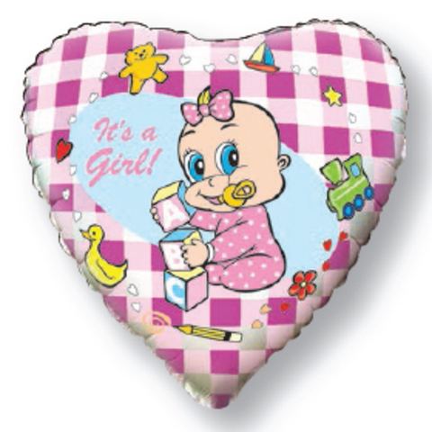 Фольгированное шар сердце Новорожденная девочка