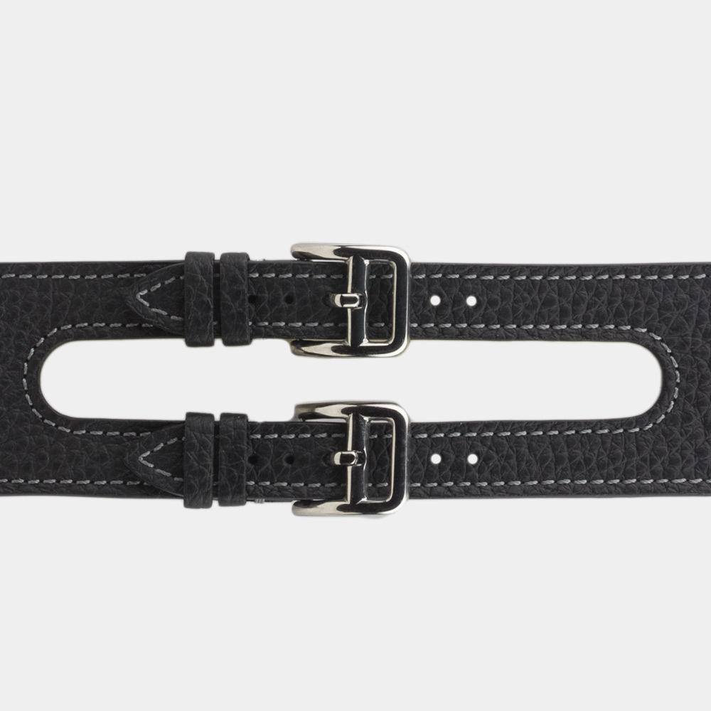 Ремешок для Apple Watch 42мм ST Double Buckle из натуральной кожи теленка, цвета черный мат