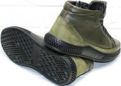 Модные мужские полуботинки на толстой подошве зима осень термо Luciano Bellini BC2803 TL Khaki.