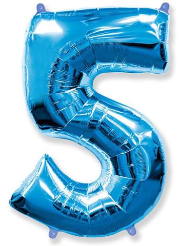 Воздушный шар (40''/102 см) Цифра, 5, Синий, 1 шт.