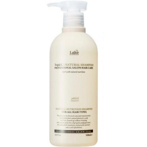 Шампунь с натуральными ингредиентами Triplex Natural Shampoo, 530мл (бессульфатный)