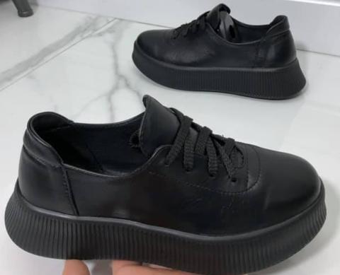 Женские кроссовки кеды кожаные. Черные женские кроссовки на толстой подошве.