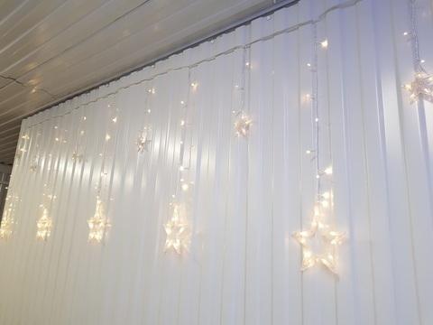 Гирлянда домашняя Бахрома Звезды 3*0,9м 130LED теплый белый