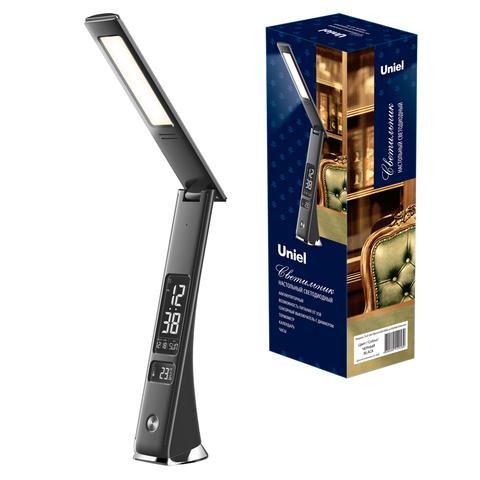 TLD-567 Black/LED/300Lm/4500K/Dimmer Светильник настольный c часами, календарем, термометром, 6W. Встроенный аккумулятор 2000mAh. Сенсорный выключатель. Диммер. Черный. ТМ Uniel