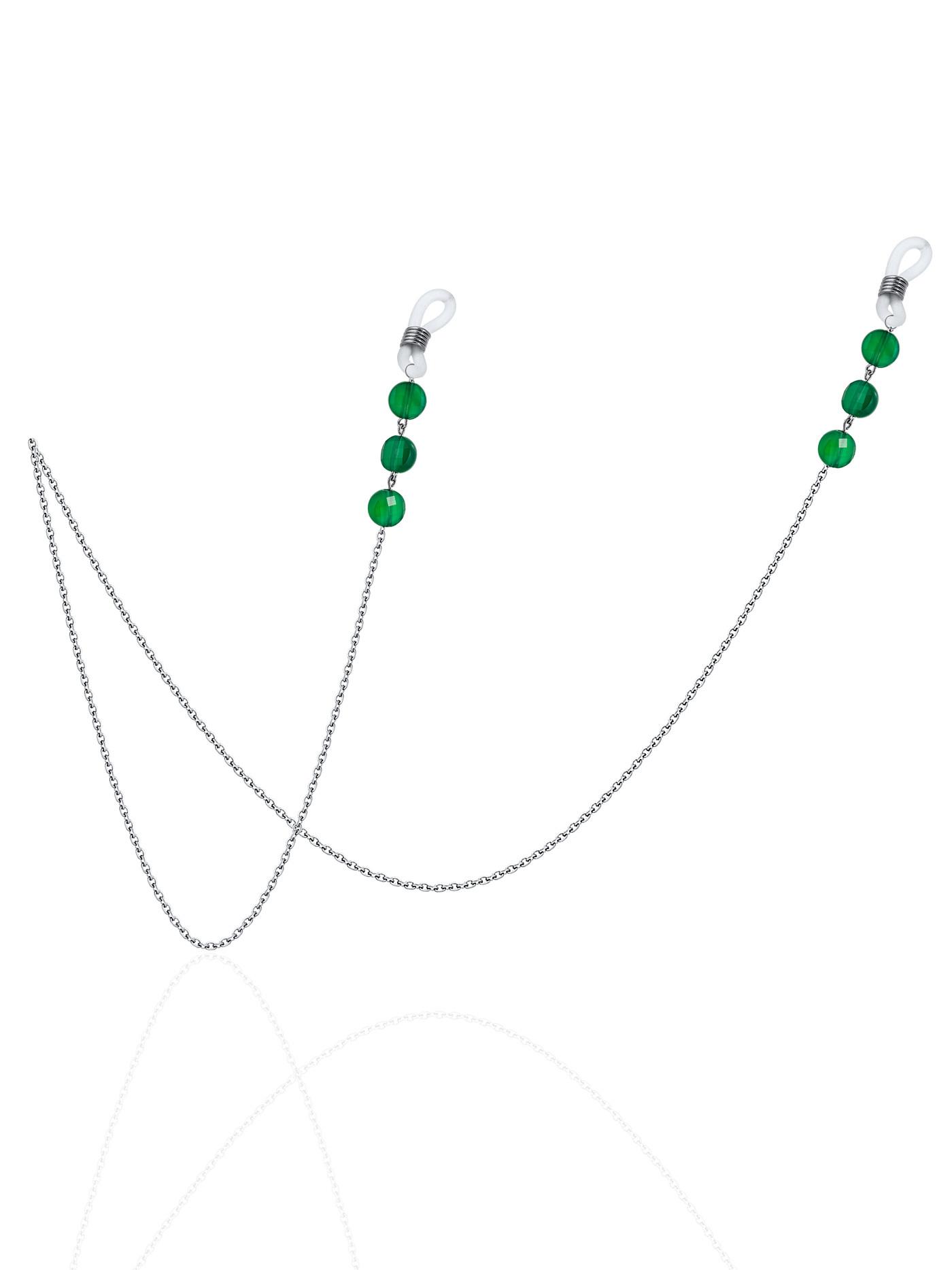 Цепочка для очков  с зеленым агатом