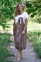 Агат. Оригинальное платье больших размеров. Беж.