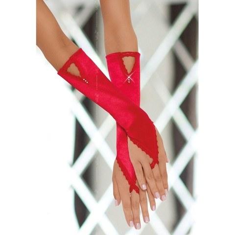 Сатиновые перчатки с кристалликами красные