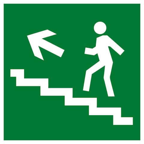 Эвакуационный знак Е16 - Направление к эвакуационному выходу по лестнице вверх налево