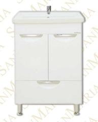 Тумба напольная SanMaria Милан-60, 1 ящик, белая, плоская раковина