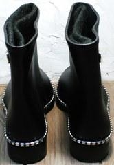 Резиновые сапоги теплые женские низкие Hello Rain Story 1019 Black