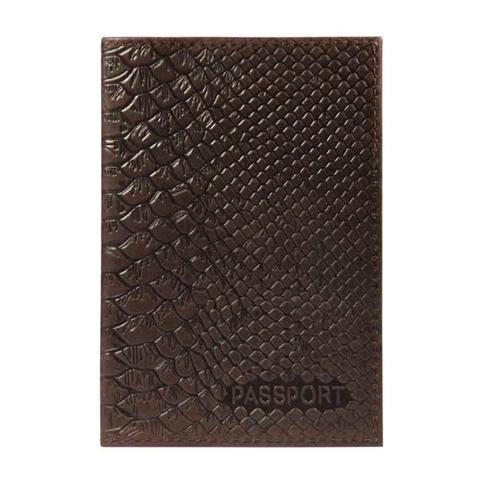 Обложка для паспорта Питон нат.кожа блинт.тисн. коричневый 1,2-059-220-0