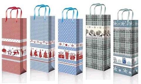 Новогодние подарочные пакеты под бутылку 12х36х8 ламинированный с шнуром