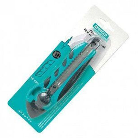 Нож канцелярский усиленный STANGER 18 мм комбинированный фиксатор зелен.