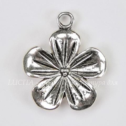 "Подвеска  ""Цветок""  (цвет - античное серебро) 23х20 мм"