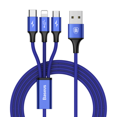 Кабель Baseus Rapid Series 3-in-1 Cable Micro+Lightning+Type-C 3A 1.2M Dark Blue