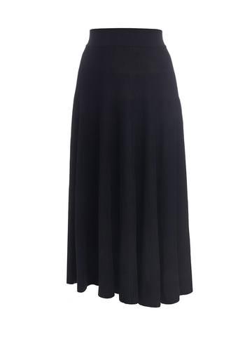 Женская юбка-миди черного цвета с поясом на резинке - фото 1