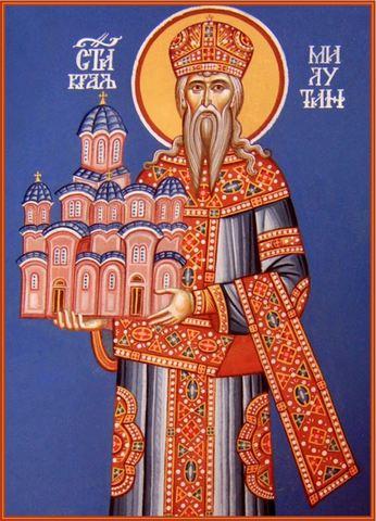 Икона святой Стефан сербский Милютин на дереве на левкасе мастерская Иконный Дом