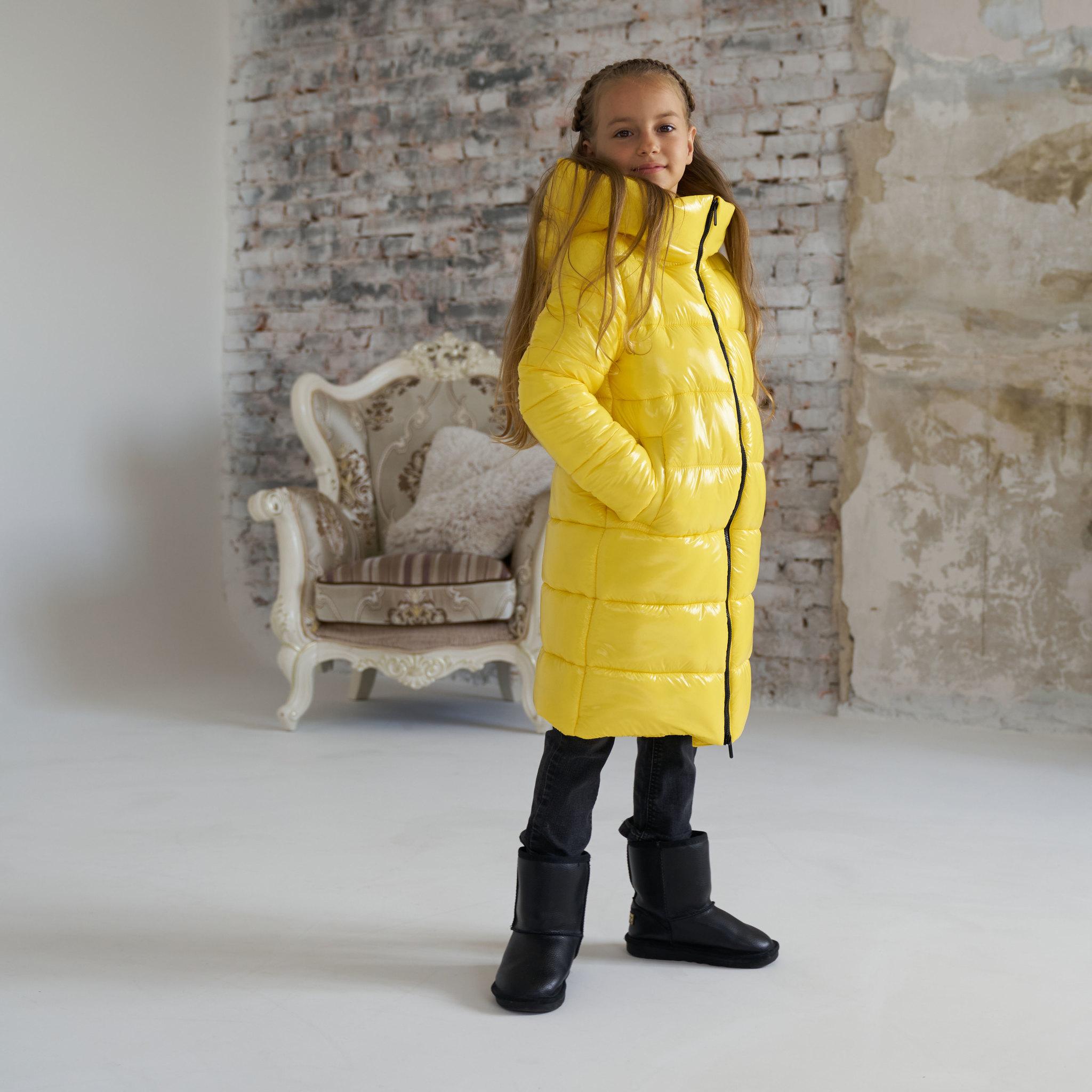 Детское ,подростковое зимнее пальто для девочки в желтом цвете