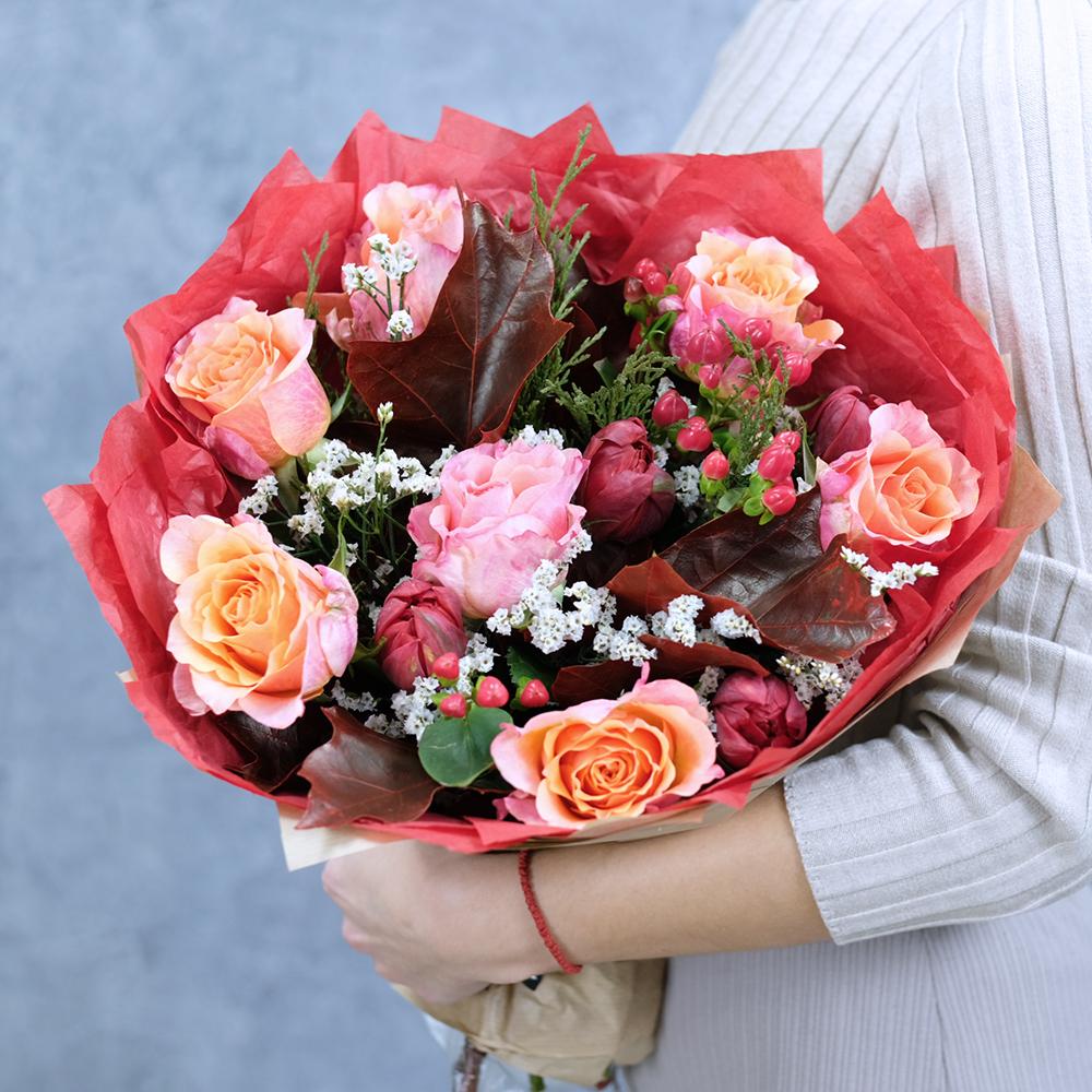 Осенний букет с тюльпанами купить заказать онлайн в интернет магазине в Перми круглосуточно