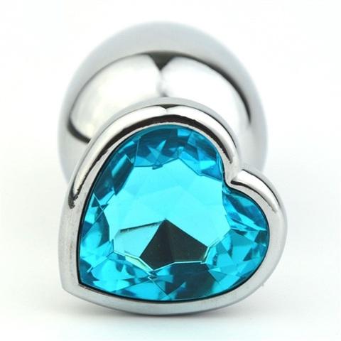 Анальная пробка сердечком с голубым стразом S 7,5 х 2,8 см 47141-MM