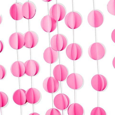 Гирлянда-подвеска Круги, Розовый, 200 см