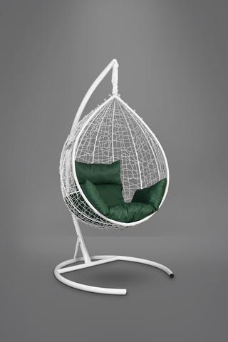 Подвесное кресло-кокон SEVILLA белое + каркас + зеленая подушка