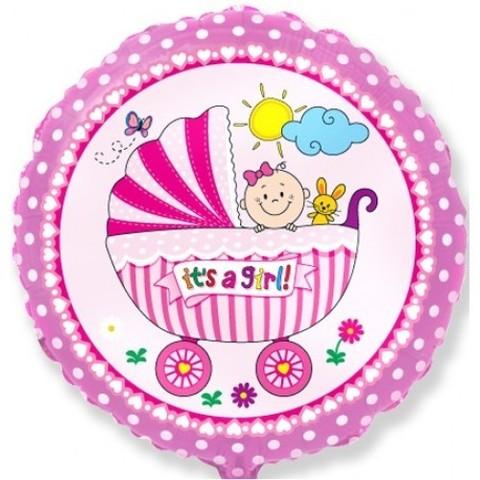 Круг, Детская коляска, Розовый (46см)