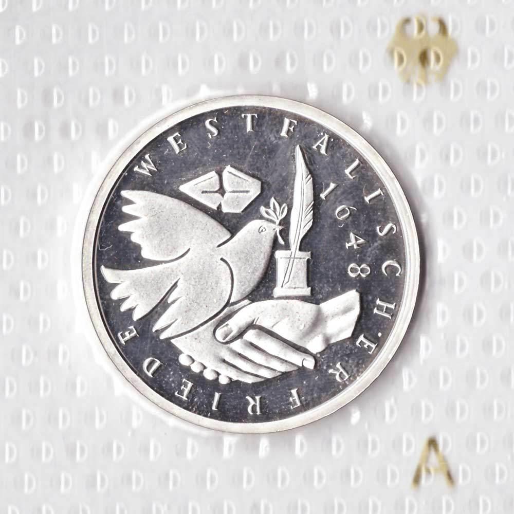 10 марок. 350 лет подписания Вестфальского Мирного Договора (А). Серебро. 1998 г. PROOF. В родной запайке